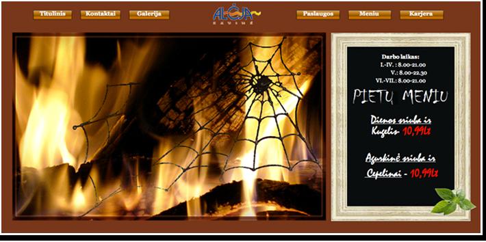 """Kavinės """"Alėja"""" internetinis puslapis"""