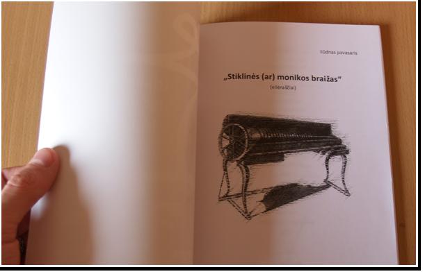 """Knygos """"Stiklinės (ar) monikos braižas"""" titulinis puslapis"""