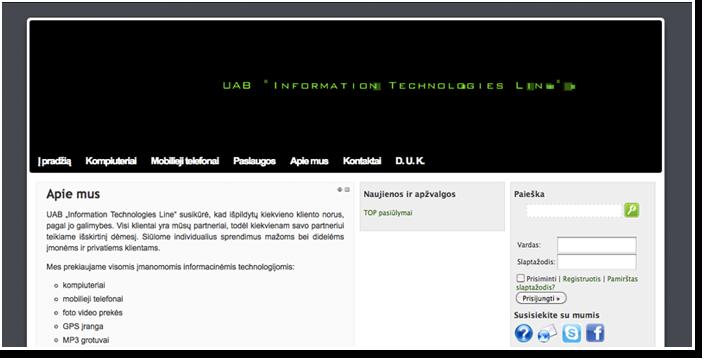 """Internetinis puslapis įmonei UAB """"Information Technologies Line"""""""