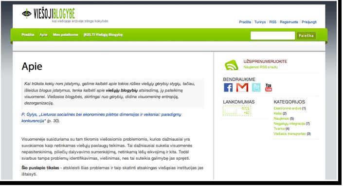 """Internetinis puslapis viešojo administravimo projektui Lietuvoje """"ViešojiBlogybė.LT"""""""